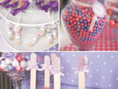 pink and purple party dessert table