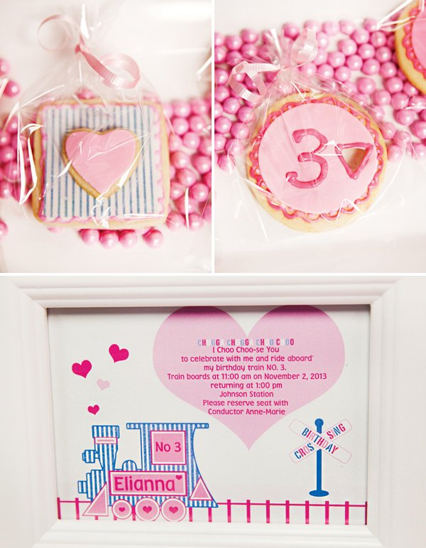 pink train birthday cookies and invitation