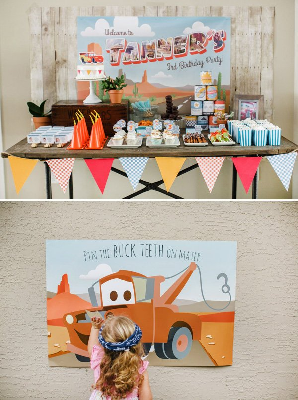 pixar cars party ideas and pin the buck teeth on mater game