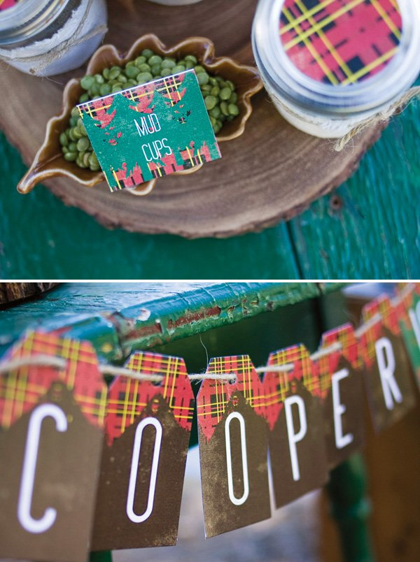 party printables with plaid and trees