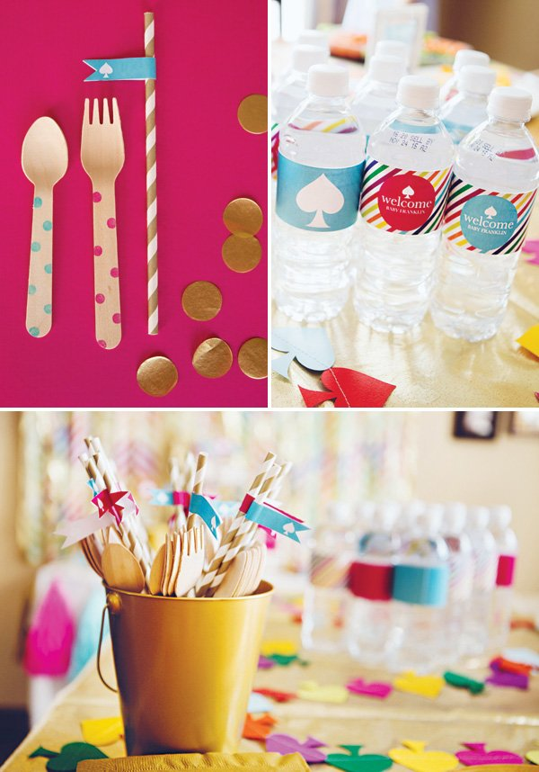 polka dotted wooden utensils and bottle wraps