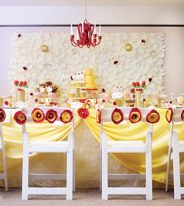 princess belle tablescape and party decor