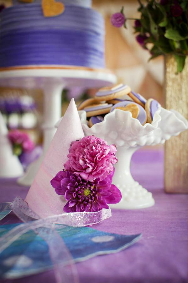 DIY watercolor and purple flower party hats