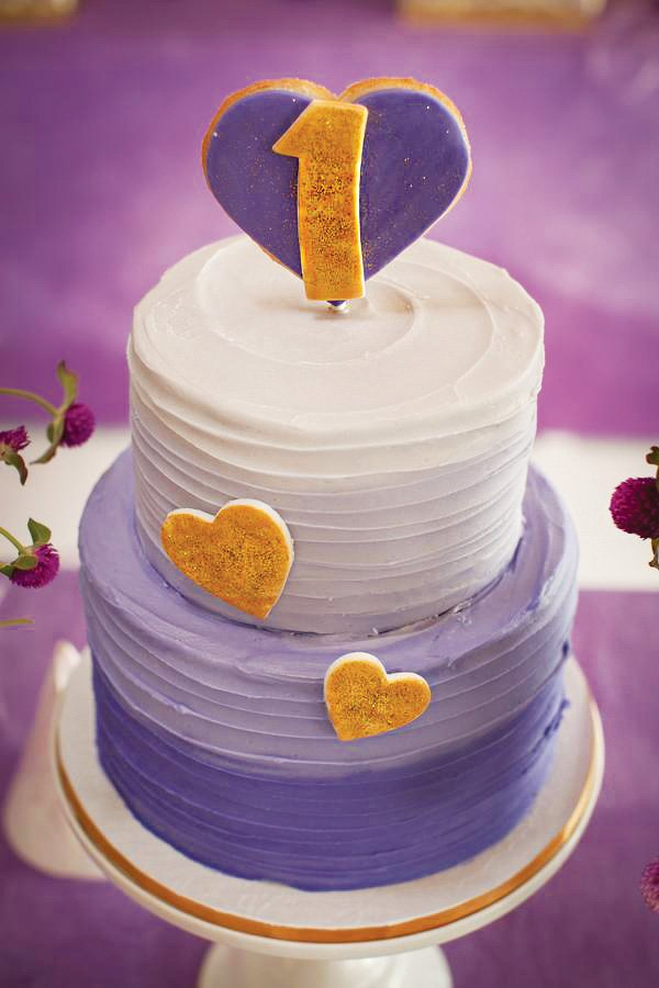 hearts and purple ombre birthday cake