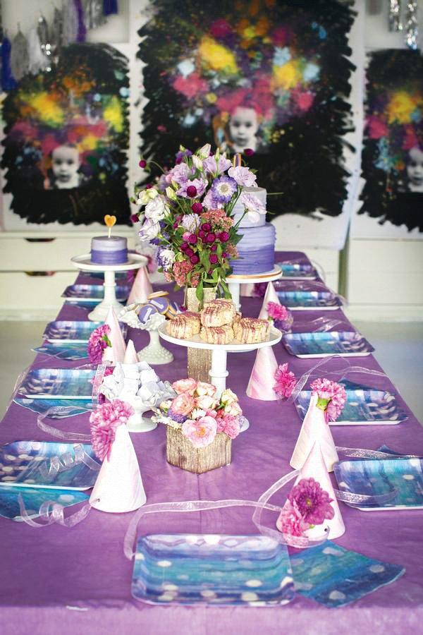whimsical purple party tablescape decor