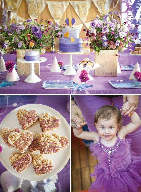 purple themed first birthday party dessert table