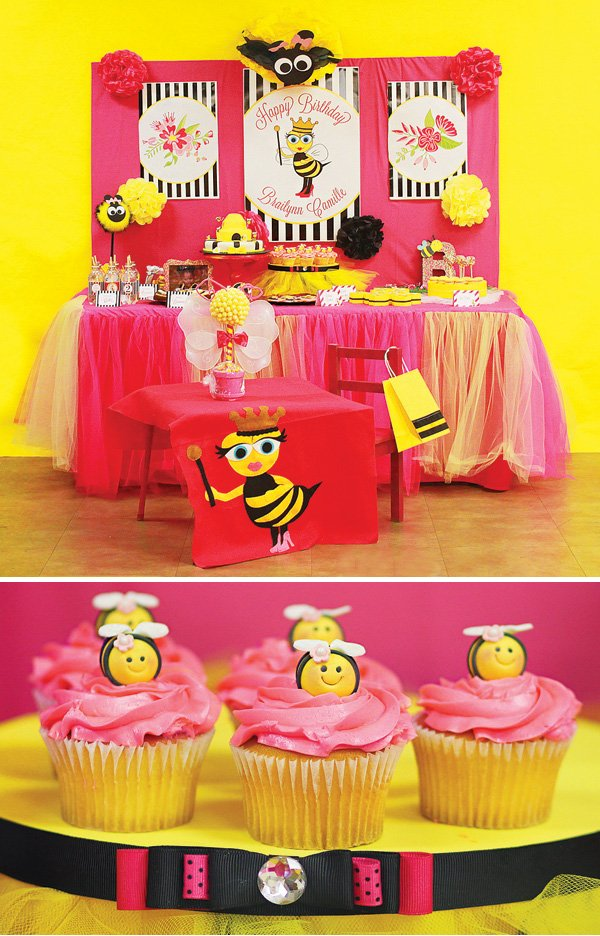 Queen Bee Birthday Party Dessert Table And Cupcakes