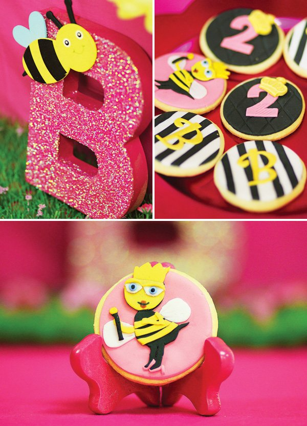 queen bee and crown party cookies