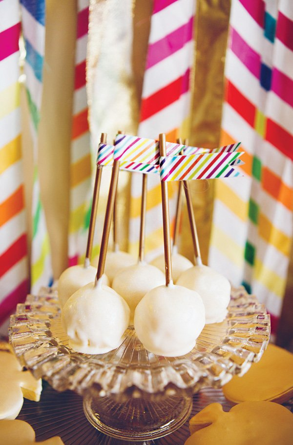 rainbow stripes cake pop party flags