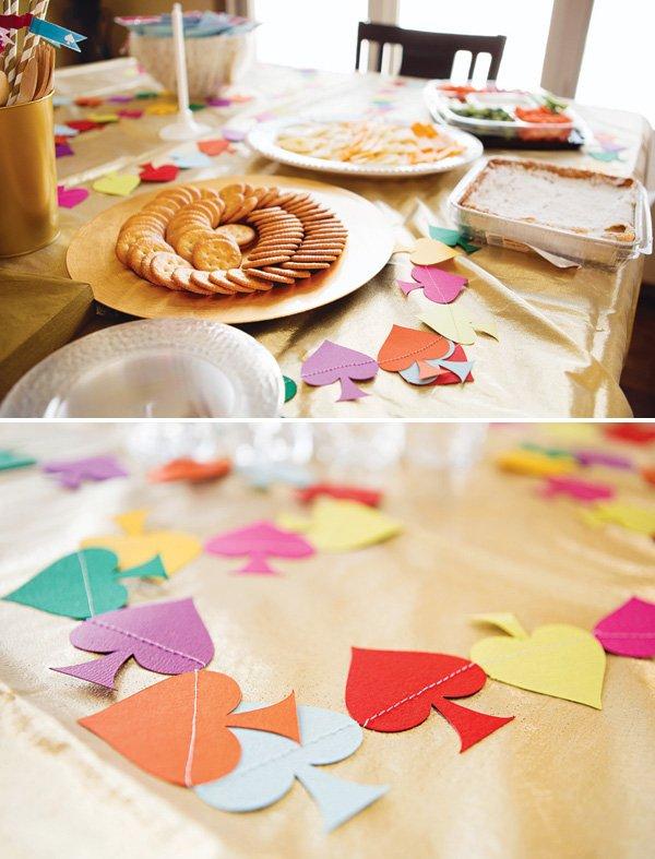 rainbow spade food table cloth