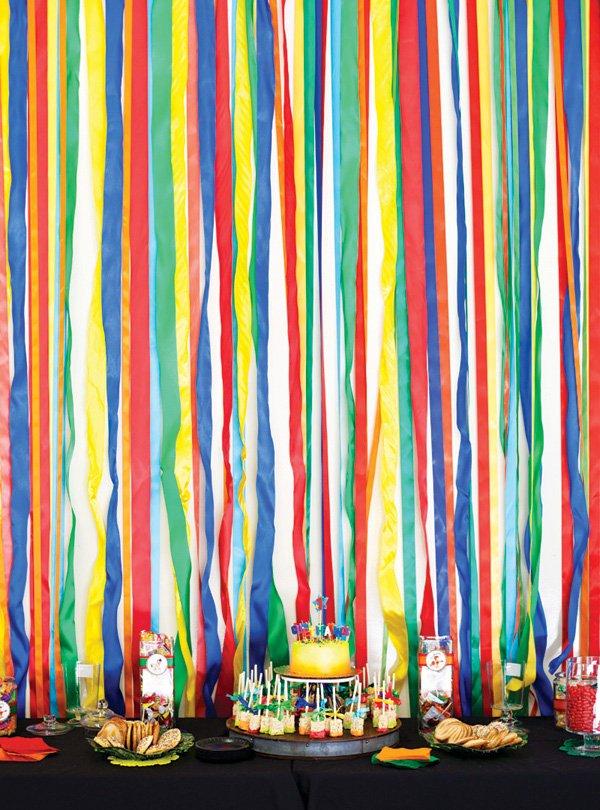 rainbow streamers dessert table backdrop