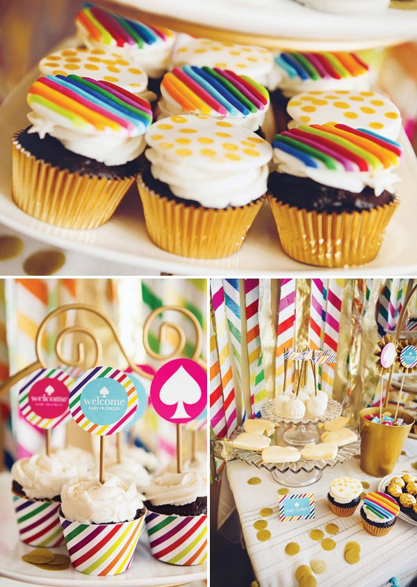 rainbow striped and polka dotted cupcakes and kate spade inspired baby shower desserts