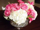 pink rose and white hydrangea bouquet centerpiece
