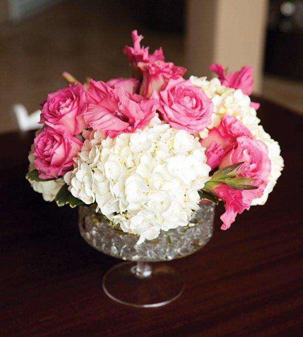 pink rose and white hydrangea bouquet centerpiece