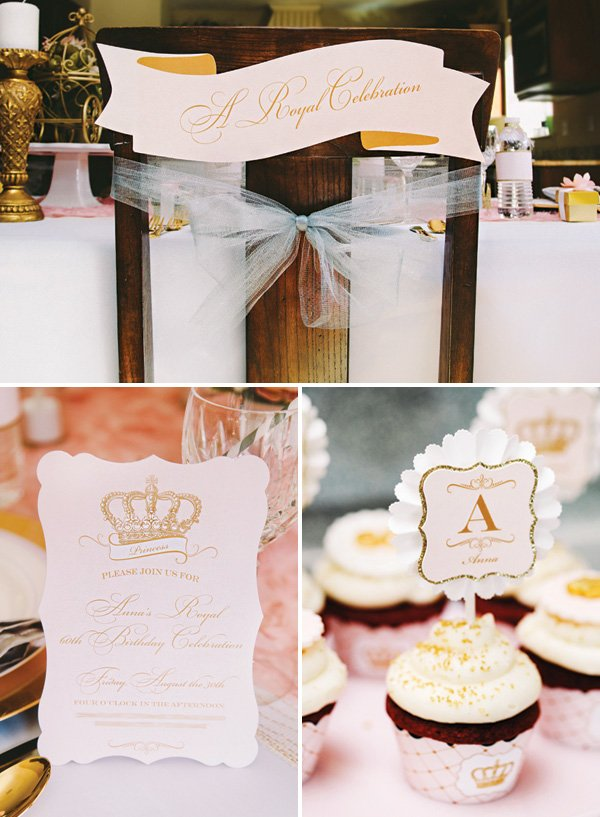 pink and gold royal 60th birthday party decor