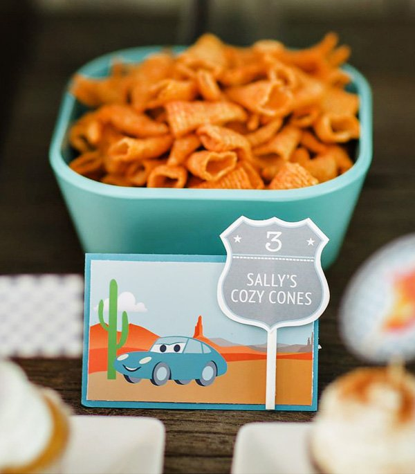 a party with cars inspired food including sally cozy cones