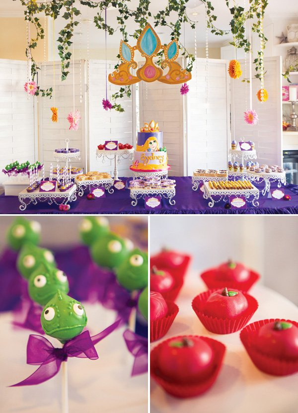 tangled party dessert table