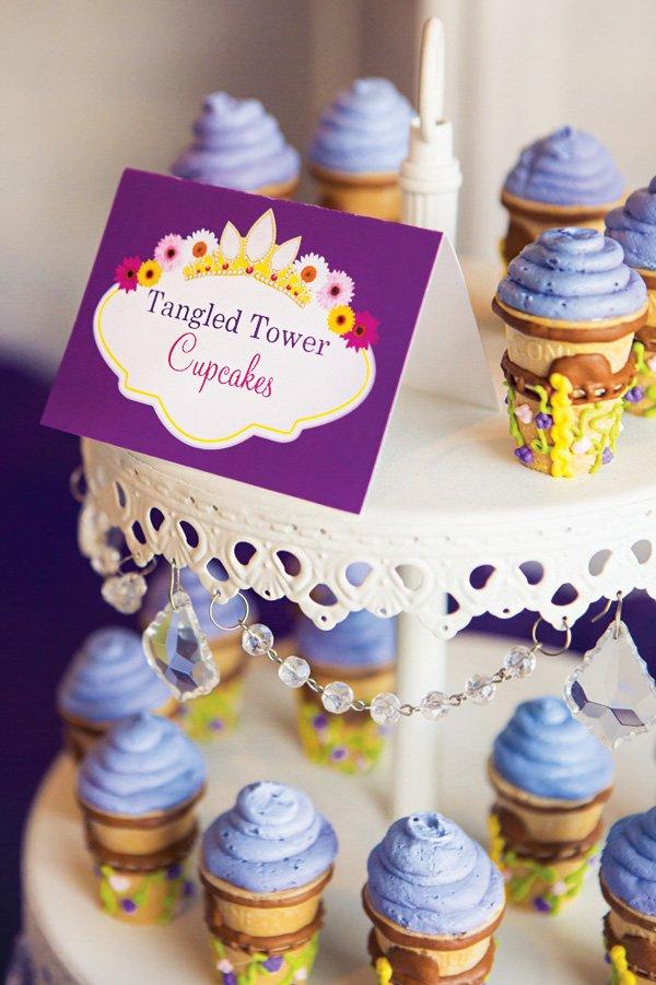 tangled tower ice cream cone cupcakes