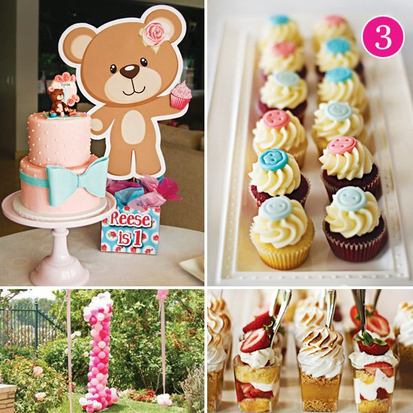 little girl's teddy bear themed picnic first birthday party