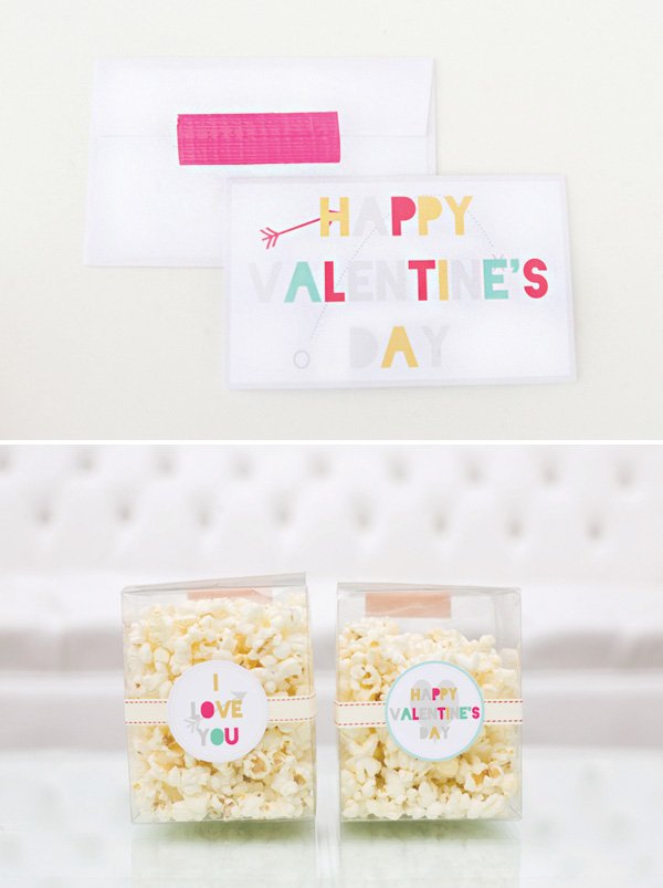 valentine's day party invitation and popcorn box party favor printables