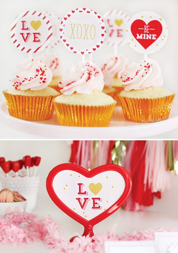 pink sprinkled cupcakes with valentine's day party circle toppers
