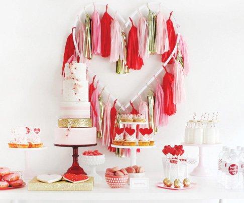 pink red gold valentine's day dessert table