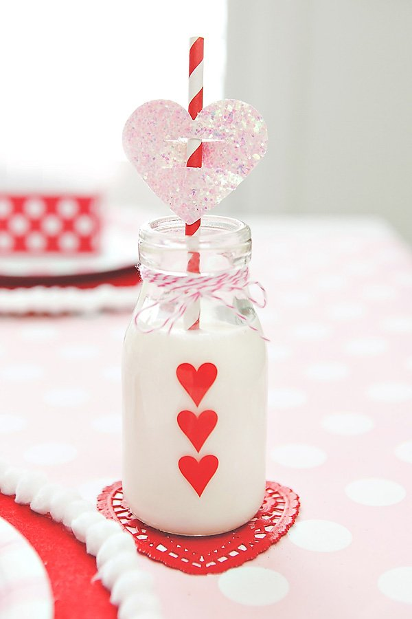 valentines day decorated milk bottle