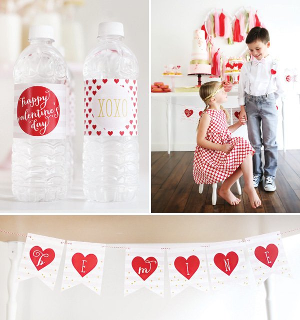 valentine's day garland and bottle wrap printables