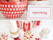 valentine's day pink macarons and dessert table