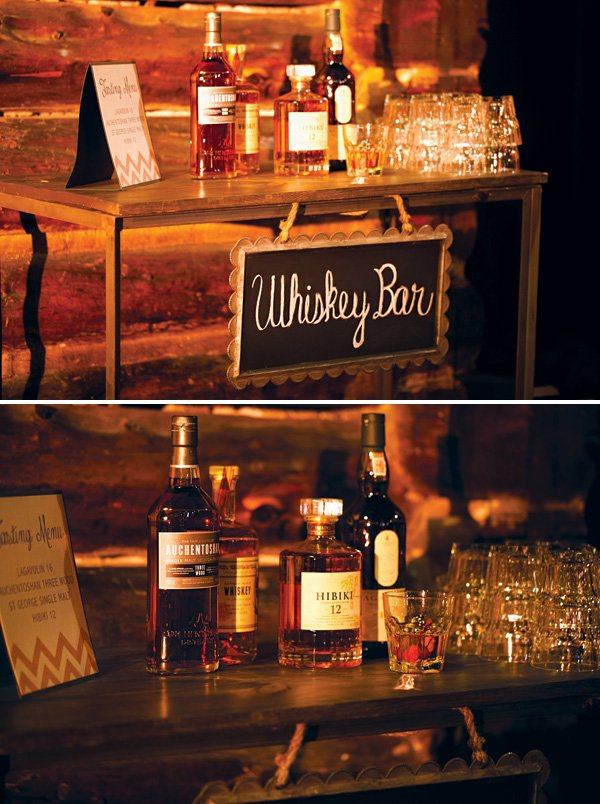 wedding whiskey tasting bar