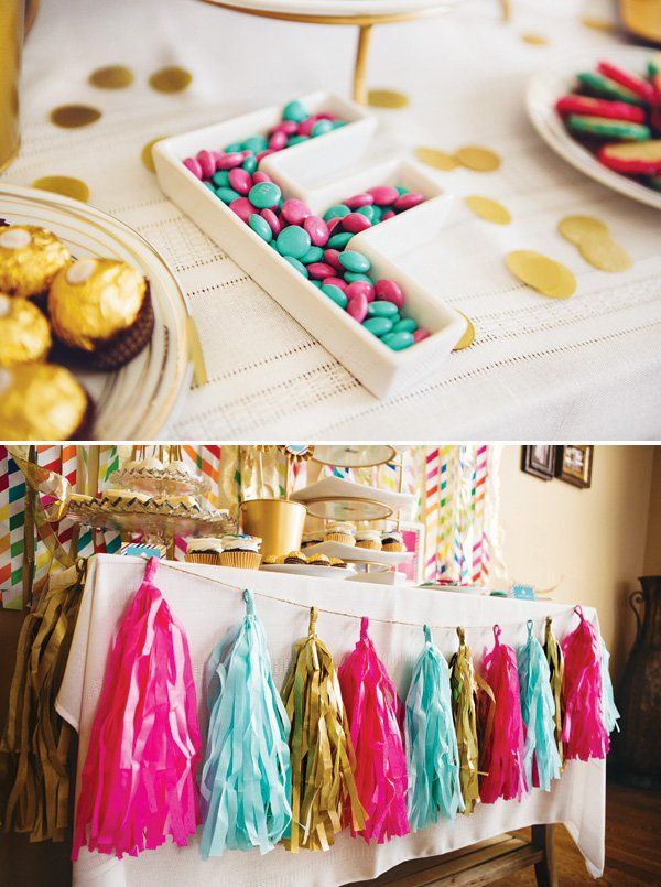 white letter candy dish and tassel garland