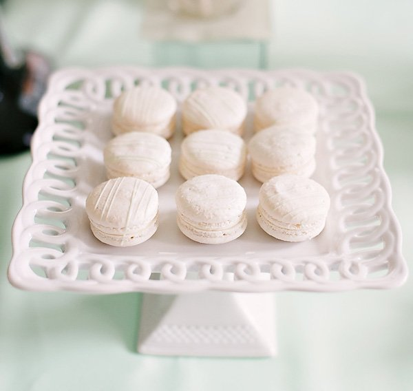 white and gold macarons