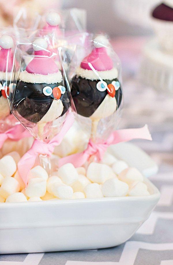 winter baby shower penguin cake pops