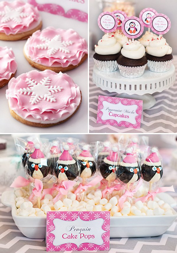 winter time girl's baby shower desserts like snowflake topped cookies, peppermint cupcakes and penguin cake pops