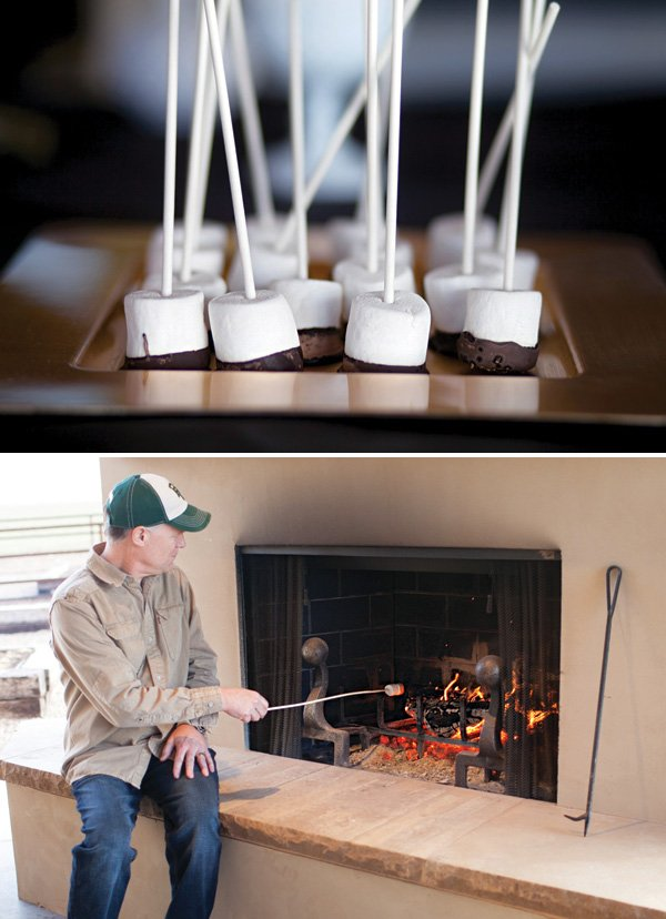 chocolate dipped marshmallow s'more making