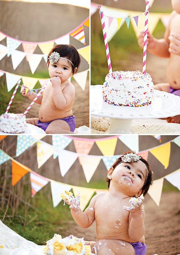 first birthday sprinkles smash cake