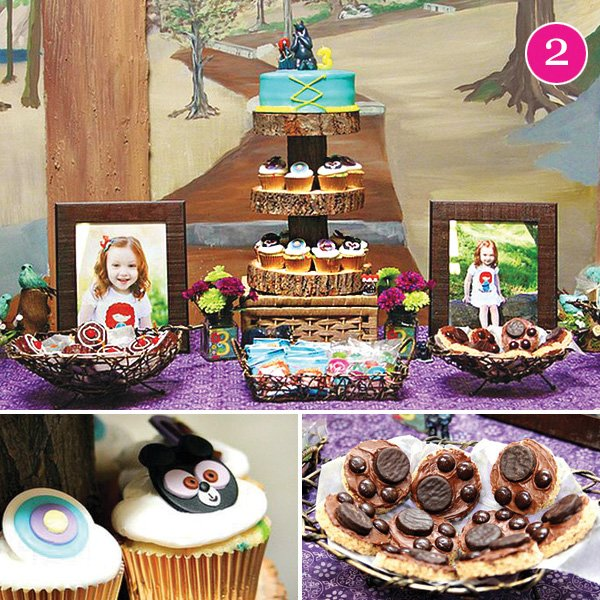 disney's movie, brave inspired birthday party dessert table