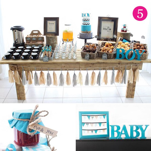 rustic chevron baby shower muffin bar and brunch