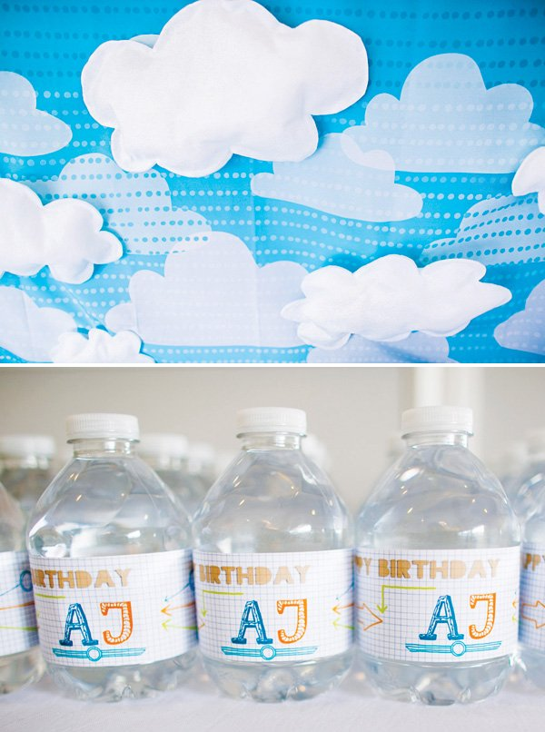DIY felt clouds backdrop and party bottle wrappers