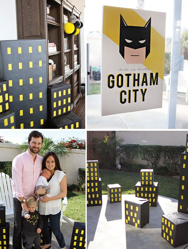 DIY cardboard buildings gotham city skyline for a batman party
