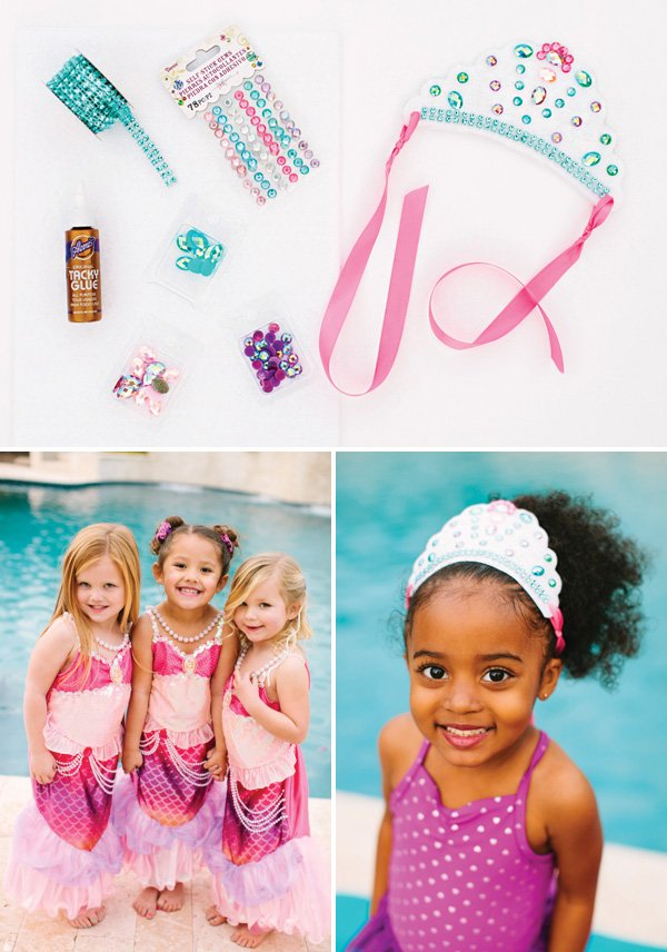 DIY make your own princess crown and mermaid party costumes