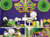 mardi gras birthday party dessert table