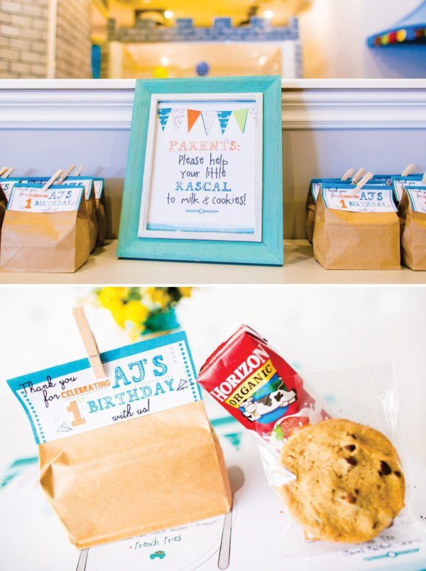 milk and cookies kid's party favors