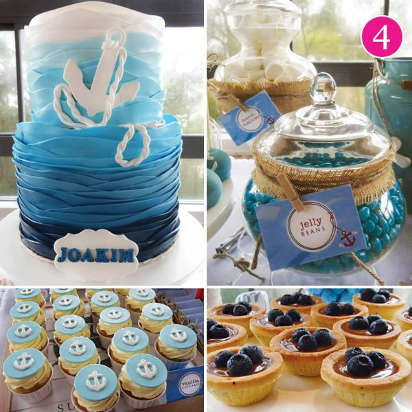nautical sea christening dessert table
