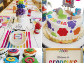rainbow art and painting birthday party