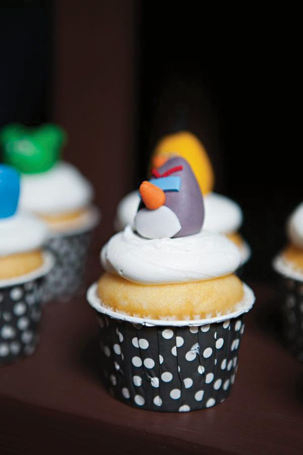 angry bird topped cupcake