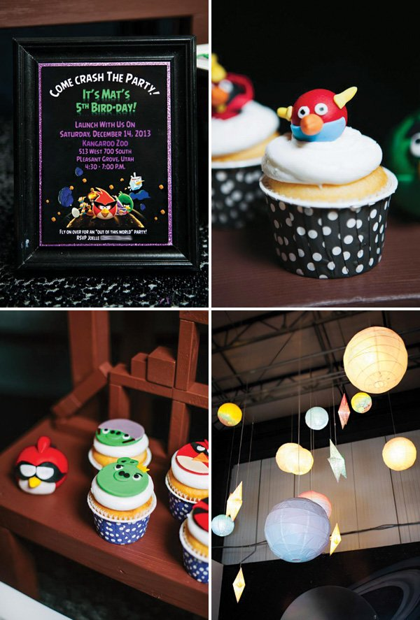 angry birds cupcakes and space lanterns