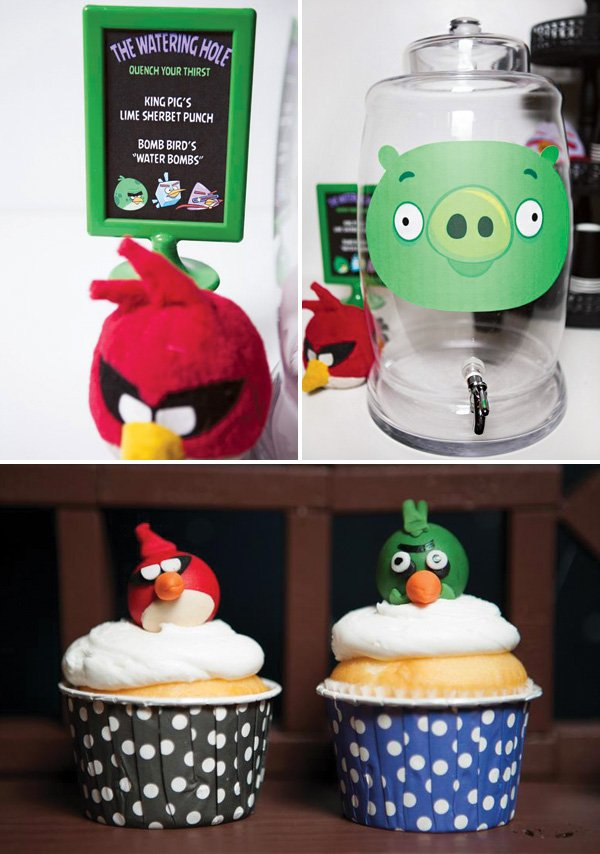 angry birds and king pig party decor and cupcakes