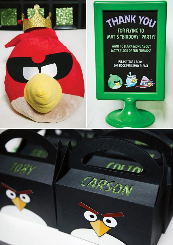 angry birds party ideas and favor boxes