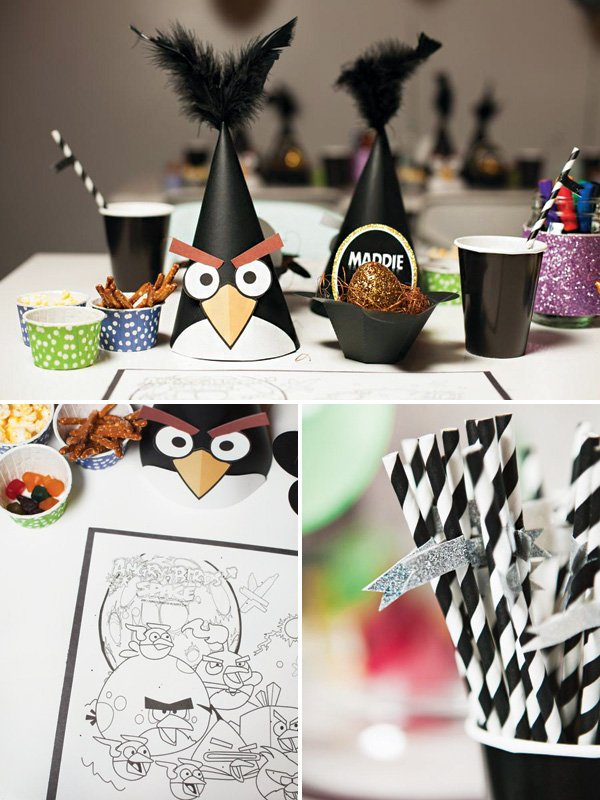 angry birds party hats and place settings
